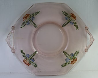 Vintage Pink Art Deco  Double Handle Sandwich, Serving, Tea Tray or Platter - Hand Painted Blue Berries, Glass Plate,