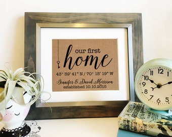 Our First Home Burlap Print | Personalized Coordinates Sign | Housewarming Wedding | Realtor Closing Gift | Address | Frame not included
