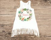 Cactus Birthday Dress for Three Year Old, Third Birthday Outfit, Boho Fringe Dress