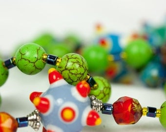 Green Rosary, Lampwork Rosary, Multicolor Rosary, Bright and Colorful Beaded Rosaries, Handmade Rosary