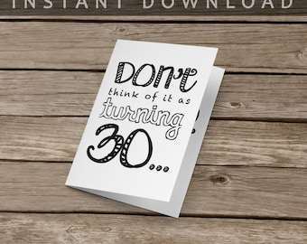 Funny Birthday Card | 30th Birthday Card | Instant Download
