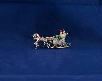 Vintage Christmas Sleigh Pin, 1960's Sleigh Ride Brooch