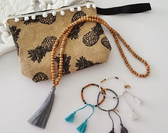 Clutch + jewelry goodies bag - special Grab Bag  - All the goodies in this photo - tassel necklace, pineapple clutch,  beaded bracelets