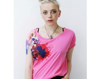 Red pink Button grunge holiday slouchy crop top boho t-shirt