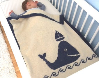 Whale & Boat blanket, blanket whale and boat, baby blanket, baby blanket knit, crib bedding, blanket, baby shower gift bassinet