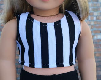 American Made   Vertical Black and White Stripe CROP TANK TOP 18 Inch Dolls