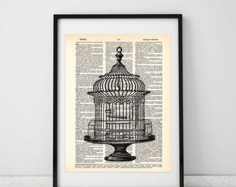 Bird Cage Prints, Cage Illustrations, Victorian Drawing, Cage dictionary prints, Cage wall art, Vintage Cage prints, Cage wall decor, #008