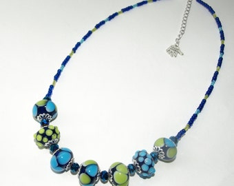 Lime and Turquoise Choker