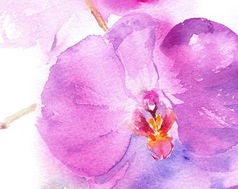 Orchid Painting, Original Watercolour Painting, Pink Orchid, Orchid Watercolor, Orchid Art, Floral Painting, Wall art