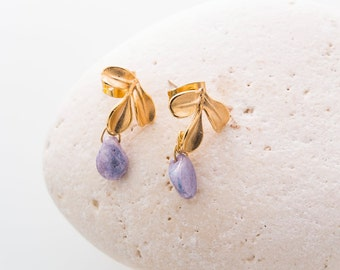 Leafs earrings. Stud gold earrings. Lilac crystal drop earrings. Gift for her. Gift for women. Bridesmaid gift