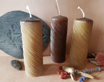 Pure Beeswax cylindric Candle, bees wax taper candles, natural wax candle, set of 3, rustic decor, Pure Beeswax  Candle
