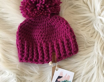 Ready to ship//baby winter hat, Pom pom winter hat, pink hat toboggan, baby knit hat, modern knittted hat, beanie with a pom pom, winter cro