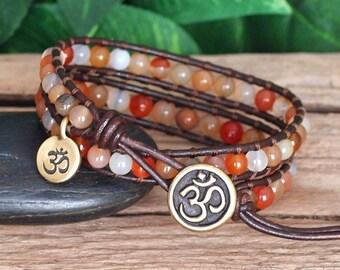 Orange Gemstone Beaded Leather Wrap Bracelet, Beaded Leather Double Wrap, Natural Carnelian Stone Bracelet, Boho Beaded Wrap, Om Jewelry