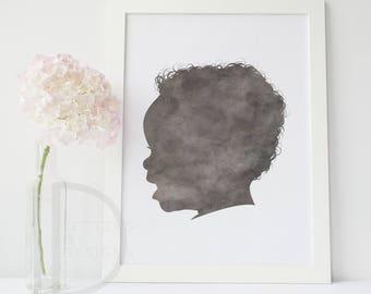 Child Silhouette - Custom Silhouette - Watercolor Silhouette - Custom Silhouette - DIGITAL PRINTABLE