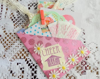 Get Well Pocket Card, Cheer Up, Thinking of you, Paper Ephemera, Free USA Shipping