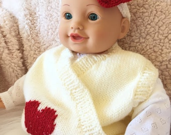 Hand Knitted Baby Vest, Baby Girl Valentines Gift, Knit Baby Vest, Baby Girl Vest, Valentines Baby