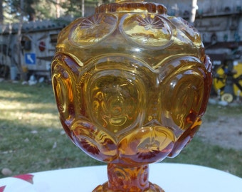 """Beautiful Amber """"Thumbprint/Kings Crown"""" Covered Glass Candy Dish"""