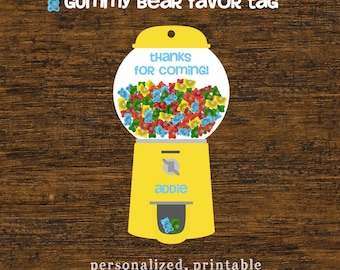 Gummy Bear Favor Tag Personalized Printable Candy Party Favor Tag