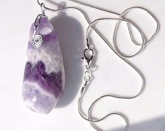 Polished fluorite ( blue john ) gem stone pendant necklace on snake chain.