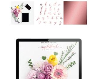 Logo Pink Rose Gold Branding Kit Premade Photography Blogger Etsy Shop Logo Boho Feminine