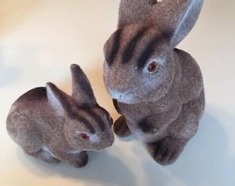 Pair Fuzzy Bunny Banks, Flocked Rabbit Banks