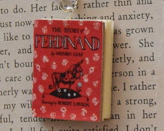 The Story of Ferdinand Book Necklace, Brooche, or Keychain