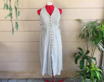 Vintage Wrap Dress / Button Down Khaki / Midi Dress Extra Small