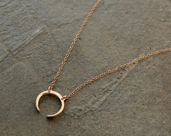 Gold Crescent Necklace - Rose Gold Crescent Necklace - Moon Necklace - Silver Crescent Necklace, Double Horn Necklace - Semicircle Necklace