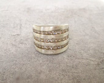 Wide silver ring cubic zirconia GR 59, wide band sterling silver blogger US size 8.7 UK size R, 925 he silver Silverring