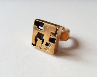 Rare vintage gold washed bronze ring, Esa Lukala, Finland, 1970s (F565)