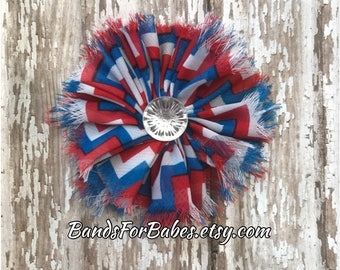 SALE Red White and Blue Frayed Chiffon Chevron Flower Hair Clip, Patriotic Hair Piece, 4th of July Hair Bow, Alligator Clip, Girls Barrette,