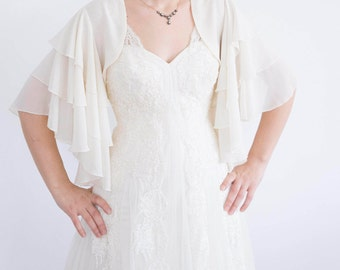 Summer Wedding Wrap Chiffon Bridal Shrug  Ivory Shrug   Bridal Wrap Bridal Bolero Wedding Shrug Bridal Cover Up Bridesmaid gift Wedding Cape
