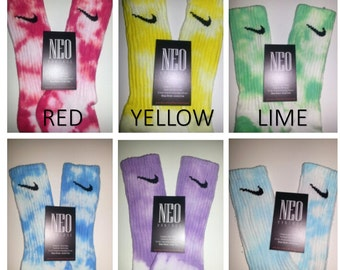 Custom Nike Tie Dye Athletic Crew Socks - Unisex GALAXY, red, blue, turquoise, black, purple, yellow, lime, orange, green, fuchsia, & teal