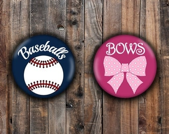 Bows or Baseballs gender reveal pins, dark pink and navy blue background