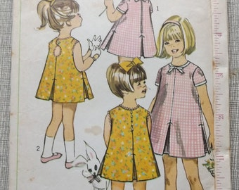 Collarless Dress with Peek-a-boo Back and Inverted Pleats in Size 6X All 8 Pieces Vintage 1960s Simplicity Sewing Pattern 6991