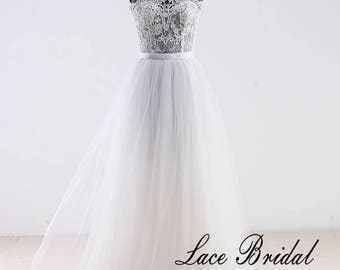 Delicate Lace A Line Wedding Dress with Illusion Neckline Simple Tulle Beach Wedding Dress with Ribbon