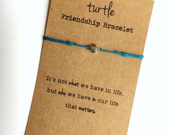 TURTLE Friendship Bracelet ~ small Silver Turtle Bead ~ Waxed Cotton Cord ~ It's not what we have in life ... ~ Adjustable ~ color choice