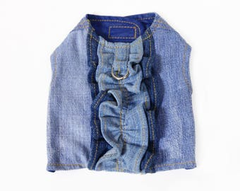 Ruffle Trim Migrubbie Denim Small Dog Harness Upcycled Repurposed Blue Jean Girl Dog Ready to Ship