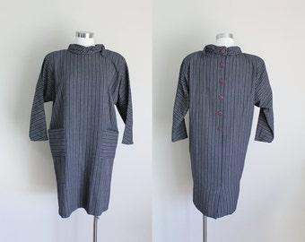 1980s Striped Tent Dress | Minimalist Dress | Rolled Collar | Button Back Dress | Large