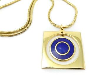 Vintage de Passille Sylvestre Necklace, Blue Enamel, Gold Tone, Modernist, Signed, Quebec Artist