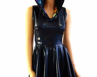 Black Holographic Sleeveless Hoodie Skater Dress with Galaxy Hood Lining Lycra Spandex Clubwear Festival Rave 153992