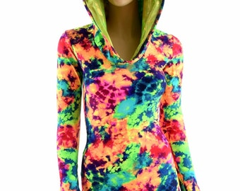 Neon UV Glow Acid Splash Print Long Sleeve Hoodie Romper with Lime Holographic Hood Lining 154091