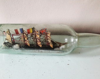 """Beautiful Large Antique Ship in a Bottle - 12"""" Long - For Restoration"""