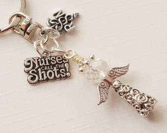 Angel keyring, fairy keyring, nurses keyring, nurses call the shots keyring, graduation gift, registered nurse keyring, nurses gift