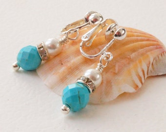 Clip on gemstone earrings, turquoise and white earrings, magnesite earrings, shell pearl earrings, gemstone clip ons, blue and white drops