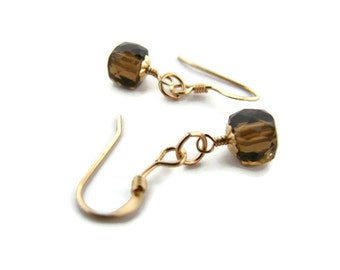 Girlfriend jewelry idea Small gemstone earring November birthstone Small quartz earring Everyday earring for sister Dark quartz jewelry gift