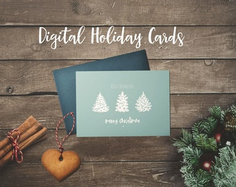 CHRISTMAS CARDS Digital // Christmas Tree // Merry Christmas //  Rustic Holiday Prints //  5x7 // Instant Download