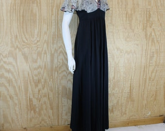 Vintage TERRI JUNIORS 1970's Black / Floral Empire Flutter Sleeve Maxi Dress Small S