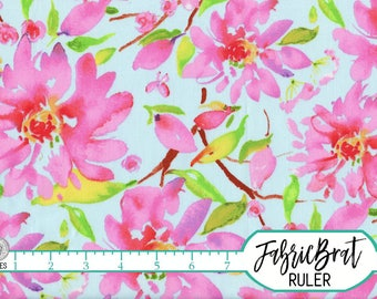 WATERCOLOR FLORAL Fabric by the Yard, Fat Quarter Pink Flower Fabric Watercolor Flower Fabric Quilting Fabric 100% Cotton Fabric t3-11