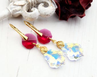 Long ruby crystal ab Swarovski earrings 24k gold plated jewellery Clear crystal Swarovski baroque Ruby gold bridesmaids drop earrings 1